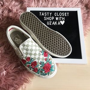 bc7d9bb652c Vans Shoes - Vans checked slip on with rose embroidery